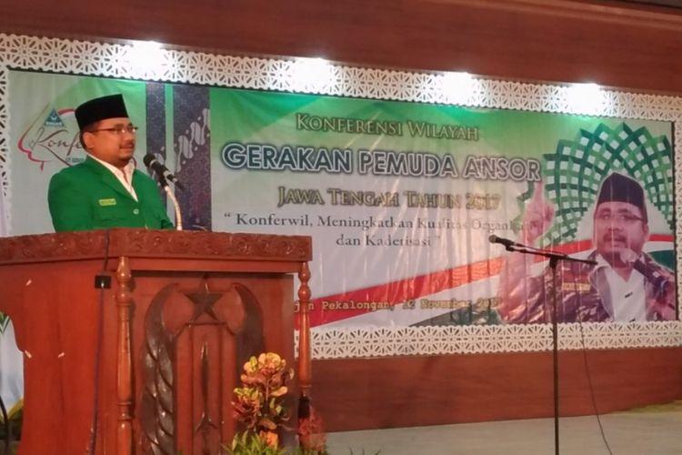 Ketua Gerakan Pemuda Ansor Yaqut Cholil mendukung Gubernur Jawa Tengah Ganjar Pranowo untuk melanjutkan kepemimpinan di Jawa Tengah