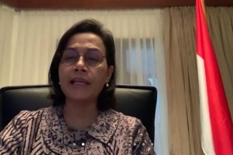 Menteri Keuangan Sri Mulyani Indrawati ketika memberikan keterangan kepada media melalui video conference di Jakarta, Selasa (24/3/2020).