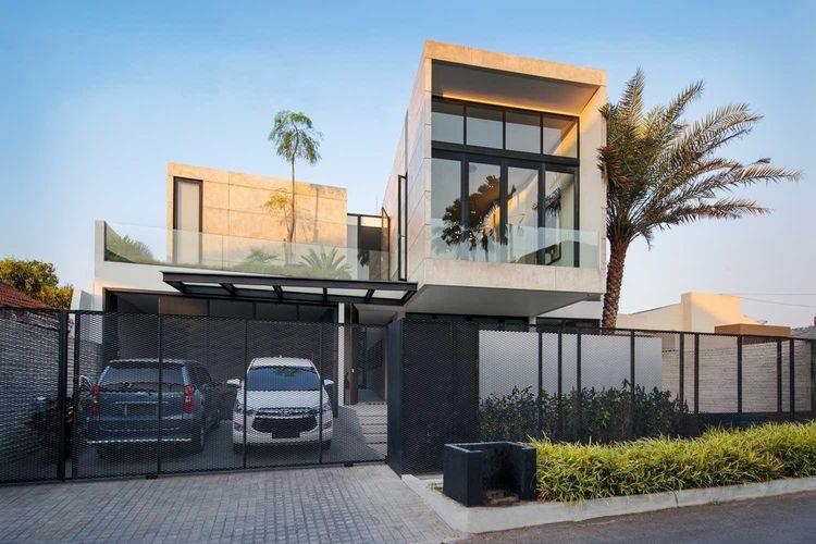 Fasad kubik RL Residence karya Michael Lauw Studio.