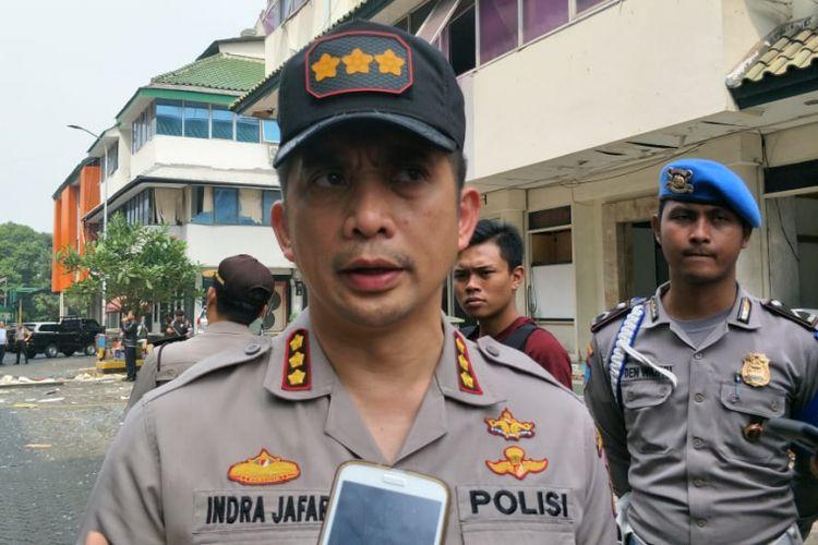 Kapolres Metro Jakarta Selatan Kombes Indra Jafar di lokasi ledakan Ruko Grand Wijaya Center, Jalan Wijaya II, Kebayoran Baru, Jakarta Selatan, Kamis (12/7/2018).