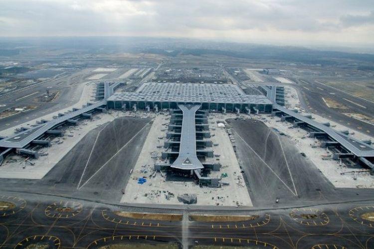 Bandara baru Turki, di distrik Arnavutkoy di sisi Eropa Istanbul. Bandara baru di Istanbul secara resmi akan dibuka pada 29 Oktober 2018. (AFP/Istanbul Grand Airport Press Center)