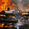 Regulator Gas Bocor, Kendaraan Tahu Bulat Terbakar Api