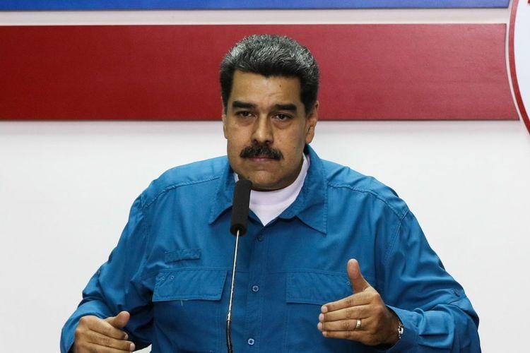 Presiden Venezuela Nicolas Maduro ketika memberikan pengarahan terkait krisis yang terjadi.