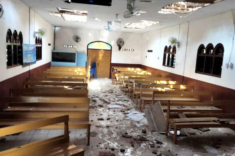 Earthquake damaging a church in Blitar Regency on Sunday, April 11.
