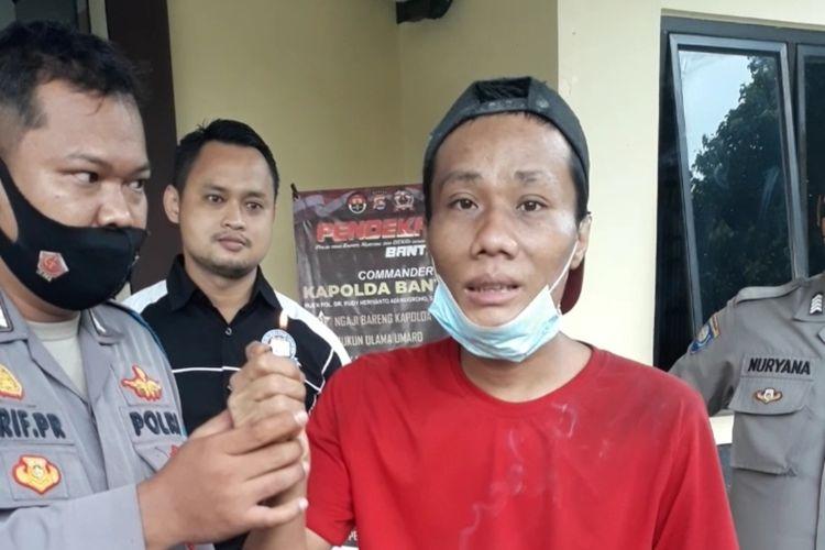 Yahya (34) pelaku pembakaran alquran dan coret masjid di Kabupaten Serang Banten diamankan polisi.