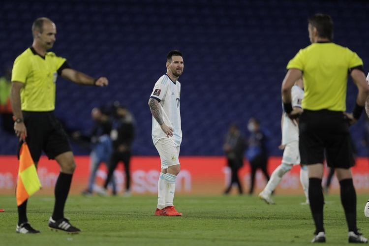 Kapten Argentina, Lionel Messi, pada laga Kualifikasi Piala Dunia 2022 kontra Paraguay, Jumat (13/11/2020) pagi WIB.