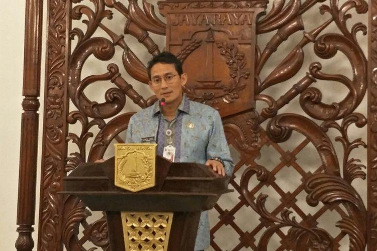Wakil Gubernur DKI Jakarta Sandiaga Uno di Balai Kota DKI Jakarta, Jalan Medan Merdeka Selatan, Kamis (4/1/2018).