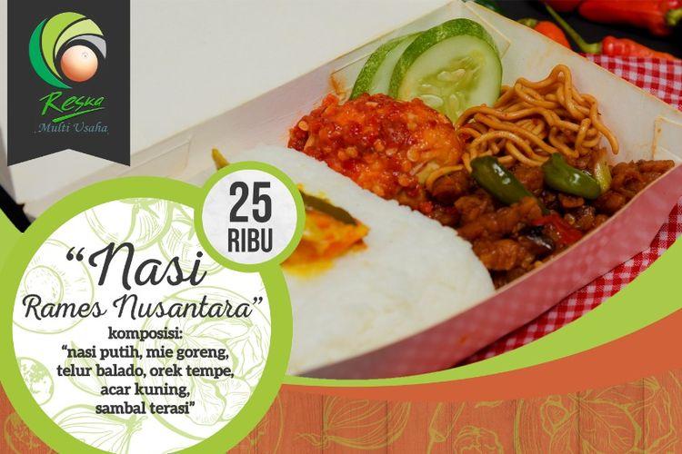 Menu makanan Nasi Rames Nusantara dibandrol PT Reska Multi Usaha seharga Rp 25.000. Menu ini tersaji di kereta api kelas Ekonomi.