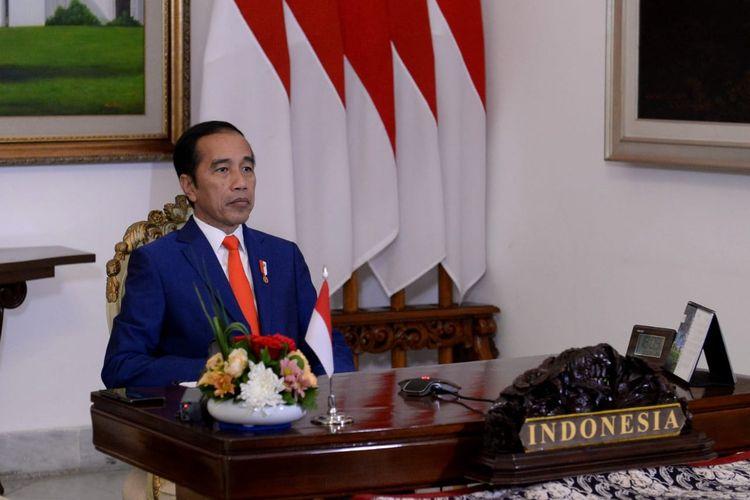 Presiden Joko Widodo mengikuti Konferensi Tingkat Tinggi (KTT) Gerakan Non-Blok (GNB) khusus membahas penanganan Covid-19 dari Istana Kepresidenan Bogor, Senin (4/5/2020).