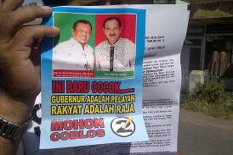Pasangan calon gubernur dan wakil gubernur Jawa Timur, Eggi Sudjana-M Sihat, saat kampanye di Kabupaten Malang, Jumat (16/8/2013).