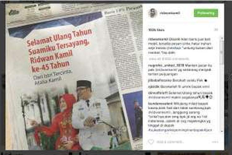 Ridwan Kamil Ulang Tahun Istri Pasang Iklan Ucapan Selamat Di Koran