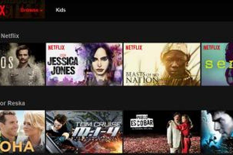 Netflix menyediakan aneka judul film dan serial TV