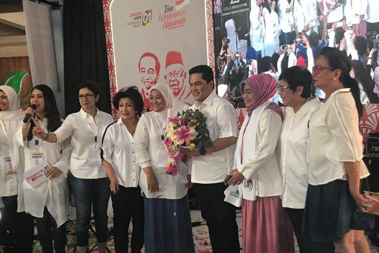 Ketua Tim Kampanye Nasional (TKN) Joko Widodo-Maruf Amin Erick Thohir hadir dalam acara pengukuhan pendukungnya dengan nama Perempuan Keren, di Cilandak Town Square, Jakarta Selatan, Senin (22/10/2018).