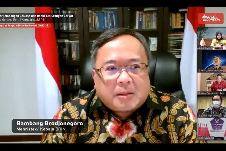 Menristek dan Kepala BRIN Bambang Brodjonegoro dalam konferensi pers update perkembangan GeNose dan Tes Antigen CePAD melalui daring (28/12/2020).