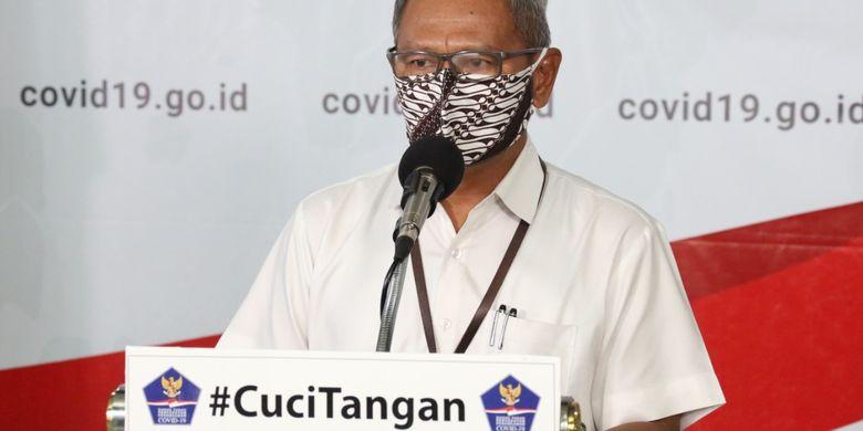 Juru bicara pemerintah untuk penanganan virus corona Achmad Yurianto dalam konferensi pers di Graha BNPB pada Kamis (9/4/2020).
