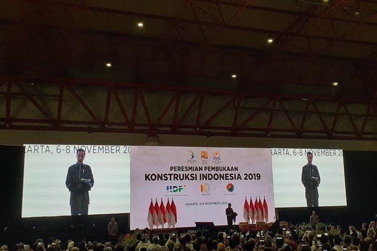 Presiden RI Joko Widodo saat membuka Indonesia Infrastructure Week (IIW) 2019 di Jakarta, Rabu (6/11/2019).