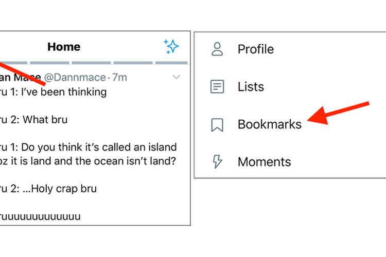 Di versi mobile, daftar bookmarks bisa dibuka dengan mengetuk profil, lalu pilih menu bookmarks.