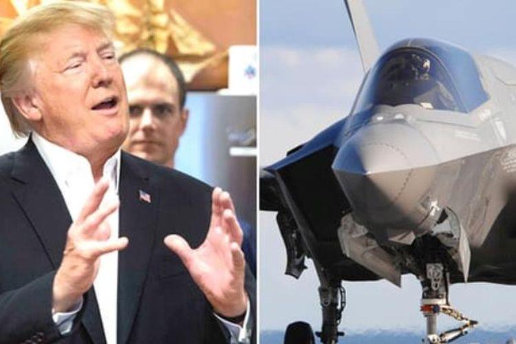 Presiden Amerika Serikat Donald Trump kembali memamerkan jet tempur tak terlihat F-35 di sebuah pertemuan dengan penjaga pantai, pada acara kunjungan presiden dalam perayaan Thanksgiving, di Pusat Penjaga Pantai Florida, Kamis (23/11/2017). (The Guardian)