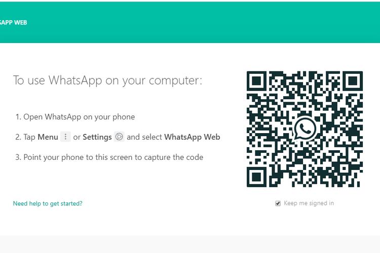 Tampilan pada situs whatsapp web