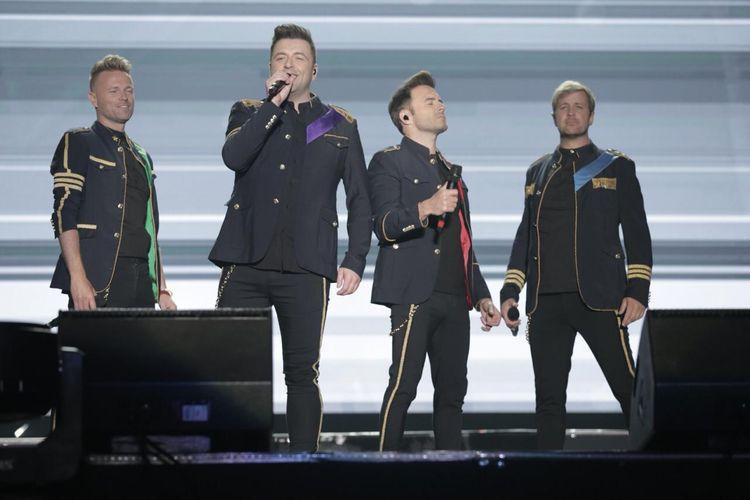 Boyband asal Irlandia Westlife menggelar konser The Twenty Tour Live in Indonesia yang digelar di Indonesia Convention Exhibition, BSD City, Tangerang, Selasa (6/8/2019).