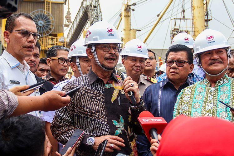 Menteri Pertanian RI, Syahrul Yasin Limpo usai melepas ekspor 7.700 pakan ternak di Dermaga 1 Anjungan, Tanjung Priok, Jakarta Utara, Rabu (27/11/2019).