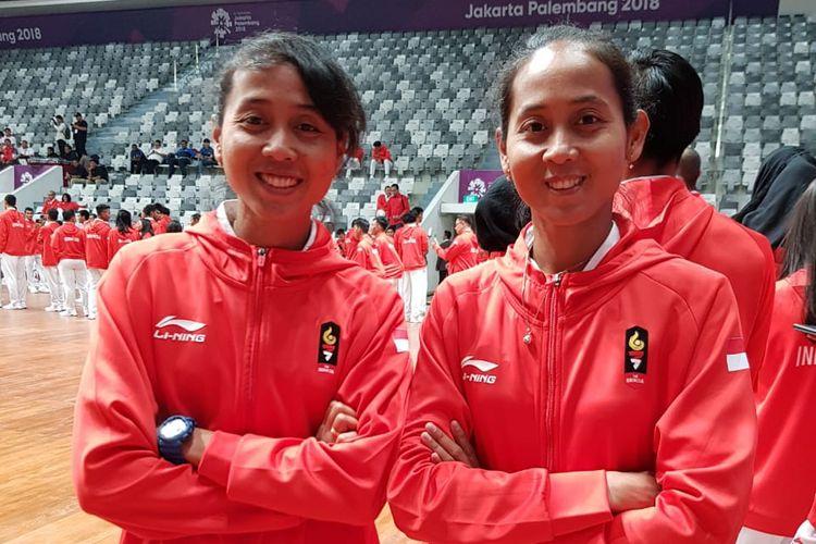 Lena dan Leni, saudara kembar, yang merupakan atlit sepak takraw putri yang bergabung di timnas Indonesia pada Asian Games 2018.