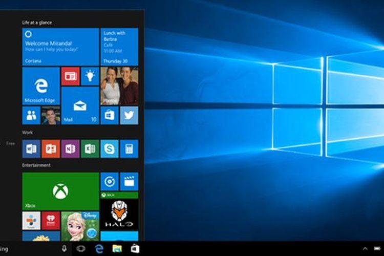 Tampilan Start Menu di Windows 10