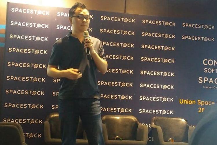 CEO SpaceStock.com Leonard Hartono dalam paparannya di Jakarta, Kamis (28/2/2019).