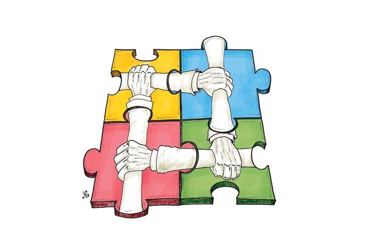 Ilustrasi kerja sama, keanekaragaman.