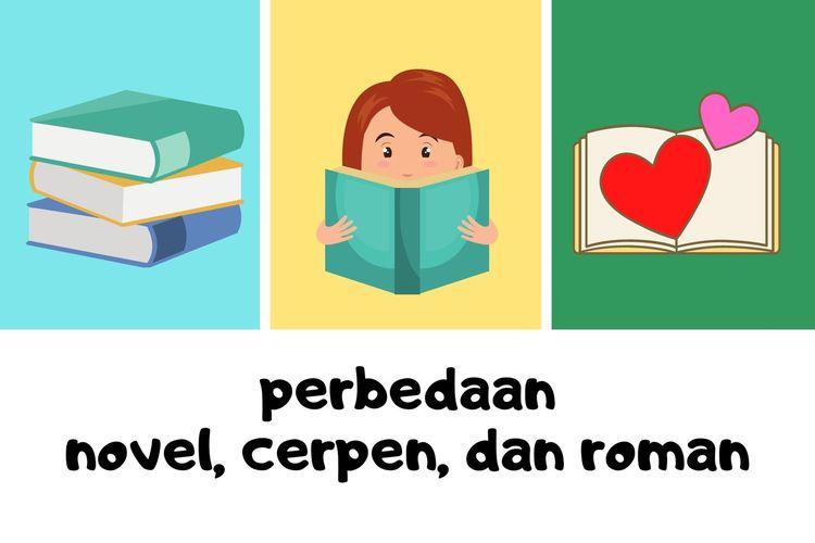 Ilustrasi perbedaan novel, cerpen, dan roman.