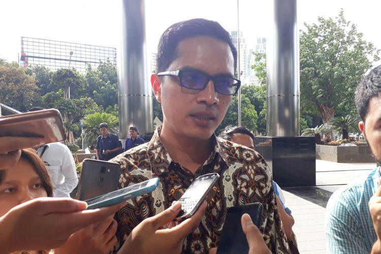 Juru Bicara KPK Febri Diansyah di gedung KPK, Kuningan, Jakarta, Senin (6/11/2017).