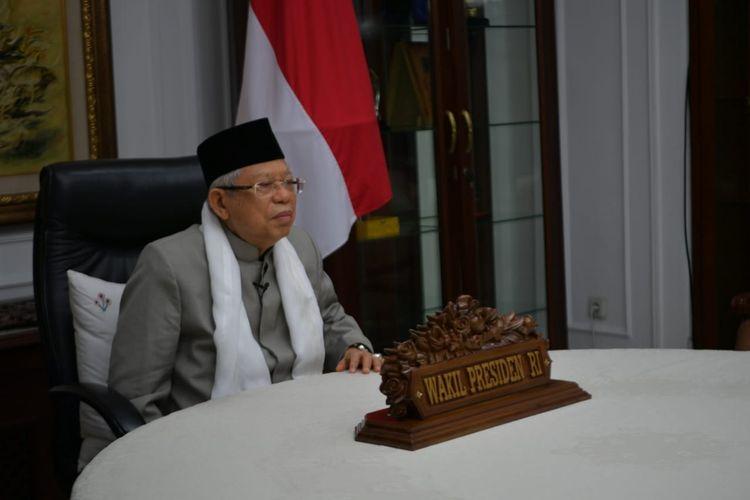 Wakil Presiden Maruf Amin saat memberi sambutan di acara Haul Virtual ke-39 K.H. Abdul Hamid pada Senin (26/10/2020).