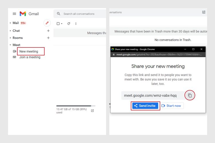 Cara menjadwalkan rapat Google Meet melalui situs web Gmail.