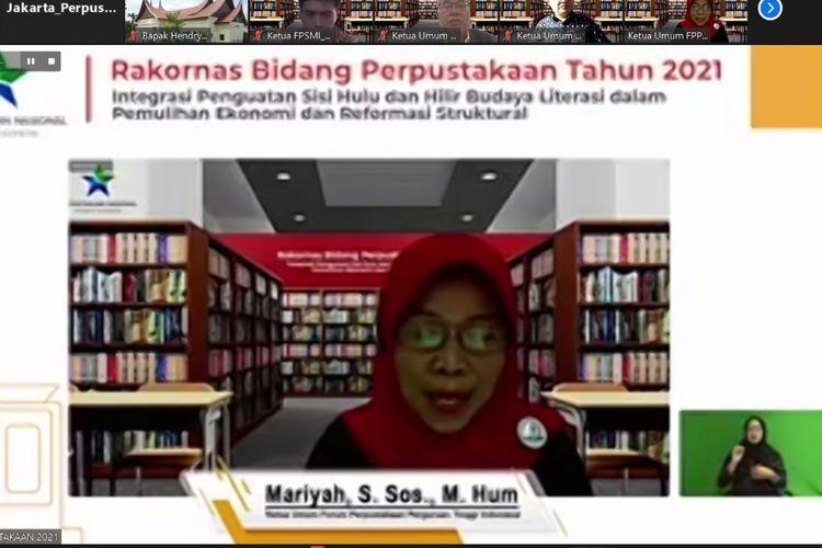 Mariyah, Ketua FPPTI dalam Rakornas Bidang Perpustakaan Tahun 2021 ?Integrasi Penguatan Sisi Hulu dan Hilir Budaya Literasi Dalam Pemulihan Ekonomi dan Reformasi Struktural? secara virtual pada Selasa (23/3/2021).