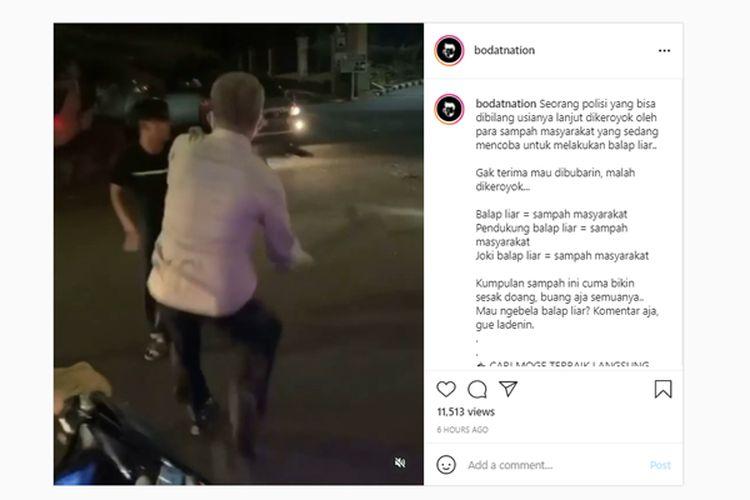 Viral lelaki berseragam yang diduga petugas kepolisian dikeroyok saat membubarkan kegiatan balap liar