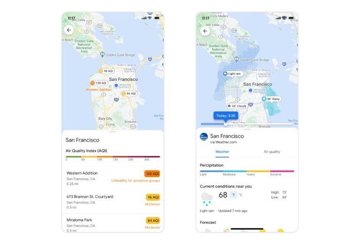 Fitur layer AQI dan prakiraan cuaca di Google Maps.