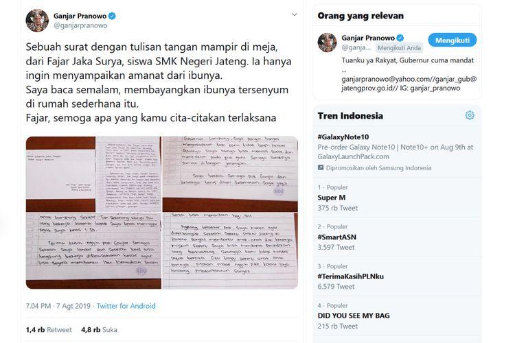 Gubernur Jawa Tengah Ganjar Pranowo mengunggah surat dari Fajar Jaka Surya, siswa SMK Negeri Jateng Semarang ke akun Instagram @ganjar_pranowo dan  twitter @ganjarpranowo Rabu (7/8/2019) malam. Surat itu ditujukan Fajar ke Ganjar.