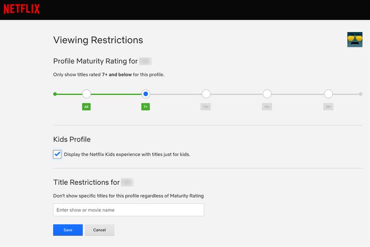 Viewing Restrictions digunakan sebagai filter konten mana saja yang boleh dikonsumsi oleh pengguna profil tertentu di Netflix, berdasarkan rating umur. Bisa juga memasukkan judul konten secara manual untuk dibatasi.