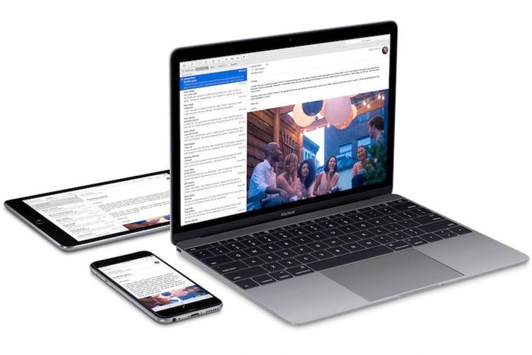 Ilustrasi MacBook, iPhone, dan iPad.