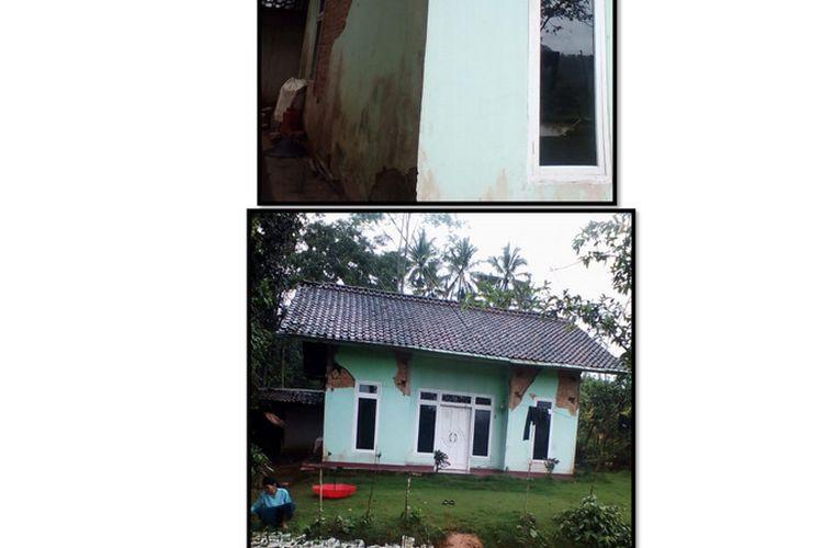 Sebuah rumah mengalami retak-retak dan temboknya mengelupas usai diguncang gempa bermagnitudo 5,9 di Kabupaten Pangandaran, Minggu (25/10/2020).