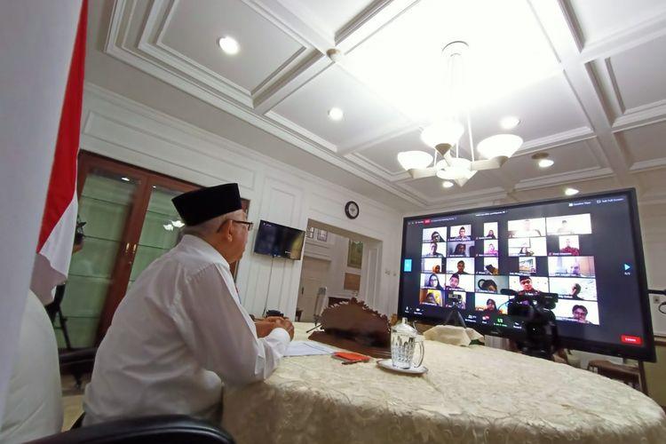 Wakil Presiden Maruf Amin saat melakukan halal bi halal online dengan pejabat dan pegawai Kantor Wakil Presiden, Jumat (29/5/2020).