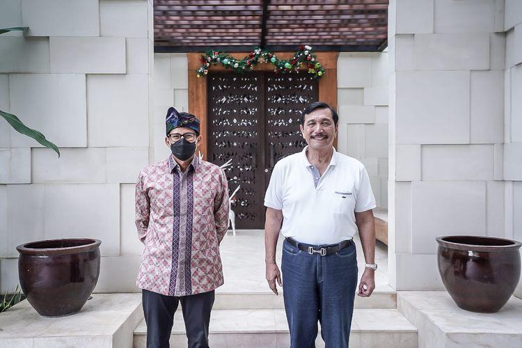 Menparekraf Sandiaga Salahuddin Uno bertemu dengan Menko Marves Luhut Binsar Pandjaitan di Pulau Dewata Bali, Minggu (27/12/2020).