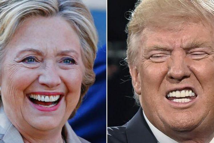 Foto kombinasi dua calon presiden Amerika Serikat Hillary Clinton dan Donald Trump. Hari ini warga negara Amerika Serikat melaksanakan pemungutan suara untuk menentukkan presiden mereka.