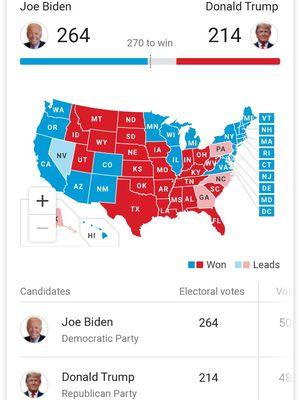 Hasil Pemilu presiden AS (Pilpres AS) di laman Google.