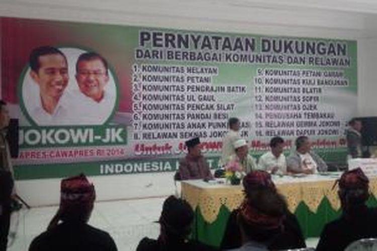 31 Komunitas Relawan Jokowi, menyatakan dukungan untuk memenangkan Jokowi-JK dalam Pilpres 9 Juli mendatang.