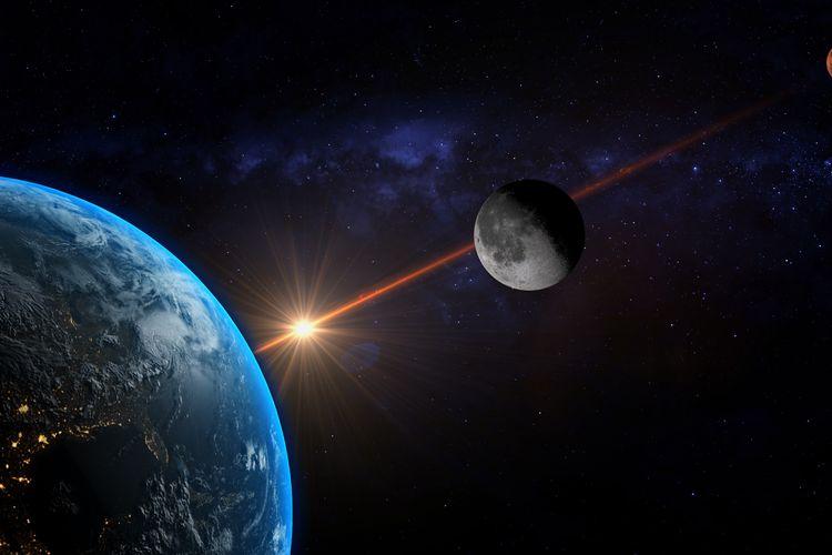 Ilustrasi konjungsi bulan dan Mars