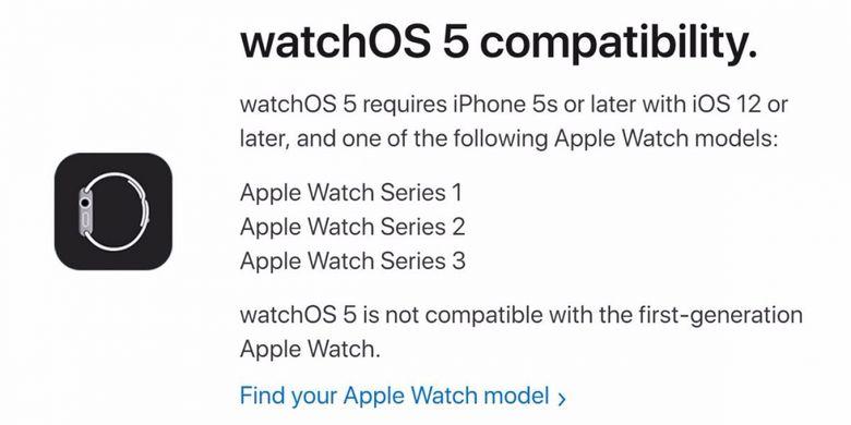 Update WatchOS 5 hanya kompatibel dengan Apple Watch Series 1,2 dan 3.