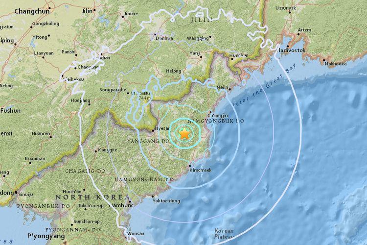 Pusat getaran yang diduga bersumber dari ledakan di Korea Utara, Minggu (3/9/2017).