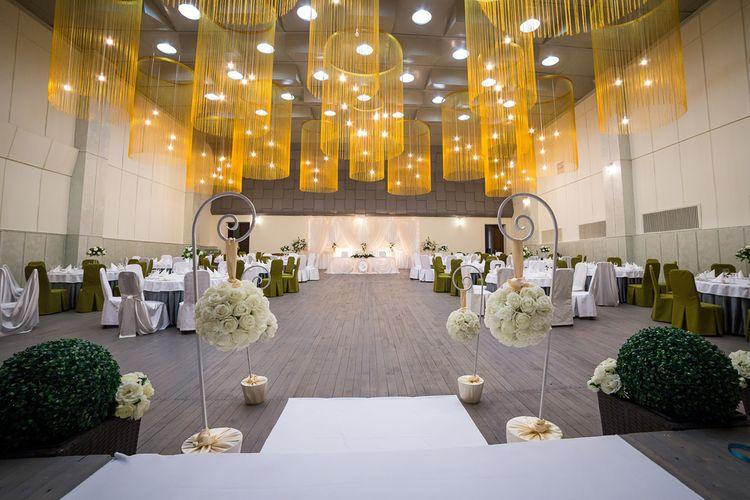 Ilustrasi ballroom hotel sebagai lokasi pernikahan.
