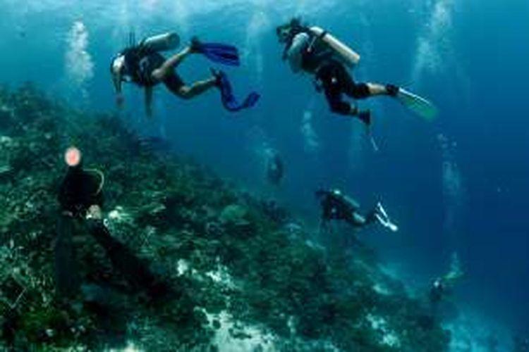 Beberapa fotografer underwater sedang melakukan pemotretan di bawah laut Pulau Siau, Sitaro, Sulawesi Utara.